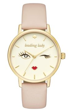 """A subtle palette turns the spotlight on this playful Kate Spade watch's charicature dial that's an encouraging reminder to go be the """"leading lady""""."""