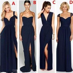 Most Popular Different Styles Mismatched Sexy Chiffon Navy Blue Formal – LoverBridal Navy Blue Bridesmaids, Mismatched Bridesmaid Dresses, Wedding Dresses, Bridesmaid Ideas, Bridesmaid Gowns, Wedding Bouquets, Bleu Marine, Cheap Dresses, Sexy Dresses