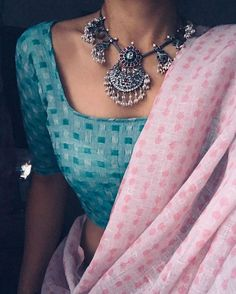 Beautiful baby pink printed saree with fancy blouse Dress Indian Style, Indian Dresses, Indian Outfits, Ethnic Outfits, Saree Wearing Styles, Saree Styles, Blouse Styles, Indian Fashion Trends, Indian Designer Outfits