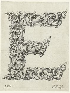 Letter 'E' (Jan Chrystian Bierpfaff + Jeremiasz Falck, by peacay Calligraphy Letters, Typography Letters, Typography Design, Illuminated Letters, Illuminated Manuscript, Monogram Letters, Letters And Numbers, Letras Tattoo, Image Digital