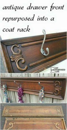 Antique Drawer Front Repurposed Into a Coat Rack Free drawer fronts get repurposed into hook racks perfect for hats, scarves, jewelry and more. Tips on making new coat hooks look vintage to add to the appeal of the vintage drawer front. Refurbished Furniture, Repurposed Furniture, Furniture Makeover, Painted Furniture, Furniture Projects, Home Projects, Diy Furniture, Furniture Stores, Dresser Furniture