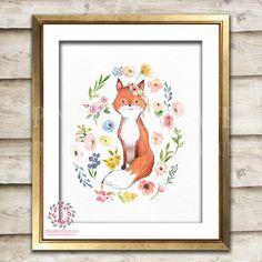 Boho Fox Watercolor Bohemian Blush Floral Woodland Nursery Baby Girl Room Printable Print Wall Art Decor