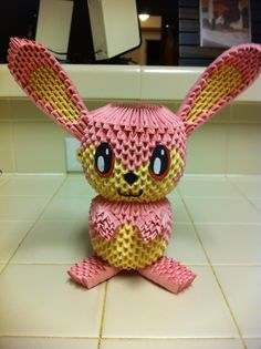 3D origami pink bunny.