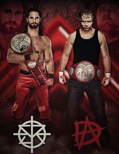 SETH ROLLINS and DEAN AMBROSE WWE Tag Team Champions