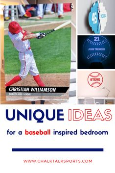 Create the ultimate room for your player or fan with our baseball room decor! Hit a home run in design with custom pillowcases, picture frames, or decals! Baseball Room Decor, Gifts For Baseball Players, Personalised Frames, Custom Pillow Cases, Room Signs, Gifts For Friends, Picture Frames, Numbers, High School