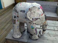 How to build an elephant in 5 easy steps - Step 2 (chicken wire frame the basic shape, paper mache over the frame, paint) Diy Projects To Try, Crafts To Do, Craft Projects, Arts And Crafts, Paper Crafts, Diy Paper, Craft Ideas, Paper Mache Crafts For Kids, Paper Glue