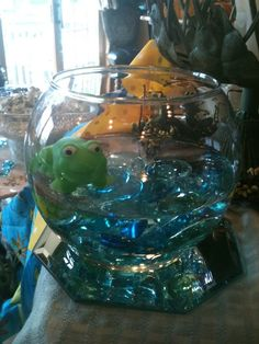 My Baby Shower swimming frog centerpieces!