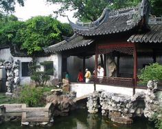 Jardín chino Yuyuan en Shanghai en China