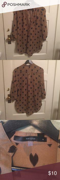 Loose Sheer Top/Tunic-Brown/Black-Medium Loose fitting sheer medium light brown tunic with black hearts. Size: Medium Tops Tunics