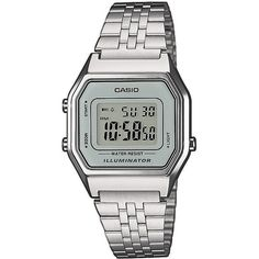 TOPSHOP **Casio Digital Silver Watch (€42) ❤ liked on Polyvore featuring jewelry, watches, accessories, silver, dial watches, water resistant watches, silver digital watches, silver bracelet jewelry and digital wristwatch