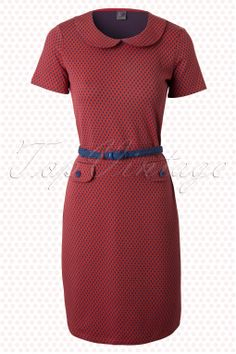 Wow To Go! - 60s Retro Root A-Line Dress in Red