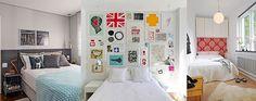 A cabeceira não precisa ser tradicional. Algumas composições com quadrinhos ou papel de parede deixam o quarto incrível!