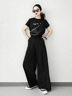 Korean Street Fashion - Life Is Fun Silo Look Fashion, Girl Fashion, Fashion Outfits, Fashion Design, Fashion Trends, Mode Grunge, Looks Black, All Black Outfit, Korean Street Fashion