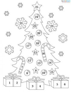 Printable Advent calendar coloring page