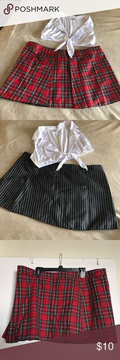 Sexy School Girl Outfit Sexy school girl outfit. Reversible skirt - red plaid on one side, pinstripe on the other side. Skirt has Velcro closure. White crop top that ties in the middle.  Tag size is 3x/4x, but it fits like 2X. Skirts Mini
