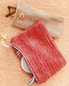 Crochet Bag Jasmine Stitch Homemade Knit Pouches - These well-crafted carry-all and eyeglass cases blend elegance and function. For more knit crafts, get Martha's Guide to Knitting— it's the exclusive resource for knitters of all skill levels. Easy Knitting Patterns, Free Knitting, Crochet Patterns, Knitting Toys, Easy Knitting Ideas, Simple Knitting, Sewing Toys, Knitting Needles, Sewing Patterns