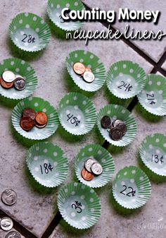 Counting Money - Using cupcake liners for math can be an easy way to prepare a new activity! This counting money game looks like fun, plus there are other suggestions for using the same format! Counting Money Games, Money Activities, Counting Coins, Money Games Ks1, Maths Games Ks1, Money Games For Kids, Activities For 6 Year Olds, Teaching Money, Teaching Math