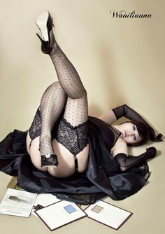 Wanilianna with Secrets In Lace Lace Top Vintage Dot RHT Stockings. #secretsinlace #stockings