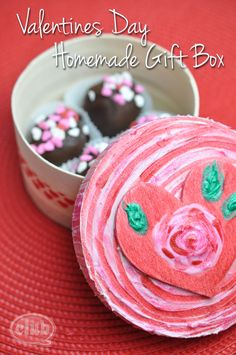 Make your own box of chocolates with this easy and fun craft idea using DecoArt dimensional paste and glitter paint for Valentines Day