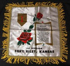WWII-FIRST-DIVISION-Fort-Riley-Kansas-MOTHER-PILLOW-COVER-BIG-RED-ONE