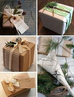 Christmas wrapping ideas - different textures and materials