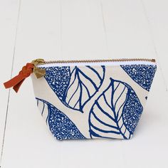 Flowie Zipper Pouch Leaf Pattern in Blue | Sold on eBay but suggested by Martha Stewart, of course
