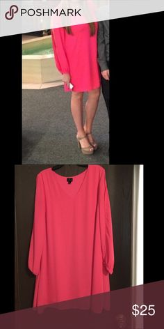 Hot pink swing dress Stand out in this hot pink swing dress with cutouts in the arms! Worn once to a wedding and everyone was in love with this dress! Dresses Long Sleeve