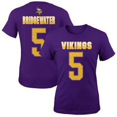 Minnesota Vikings Teddy Bridgewater Girls Youth Fade Route Name & Number T-Shirt - Purple