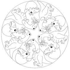 Flugsaurier mandala malvorlage f r kinder thema dinos - Mandala dinosaure ...