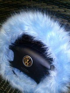 LIght Blue Fuzzy Steering Wheel Cover by BeautySteeringWheel on Etsy