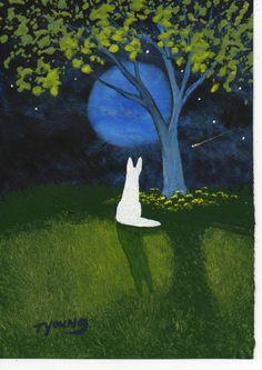 White German Shepherd Dog folk art PRINT of Todd Young painting Spring Tree. $12.50, via Etsy.