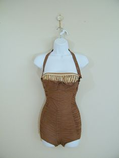 Vintage 1950s Cocoa Brown Swimsuit / Size Small / Cole of California Original