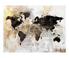 Tablou Gold Worldmap Glow Moose Art, Glow, Wall Art, Abstract, Artwork, Artist, Painting, Type 1, Impressionism