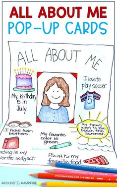 5 Fun Favorite Activites for the First Week of School - Around the Kampfire All About Me pop up cards - An easy, no prep back to school activity for getting to know you! Get To Know You Activities, All About Me Activities, First Day Of School Activities, Kindergarten Activities, Learning Activities, Activities For Kids, Teaching Ideas, Culture Activities, Kindergarten Teachers