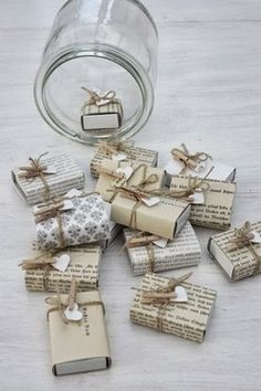 matchbox size gifts - could work as place cards, thank you/parting gifts filled with lollies etc.