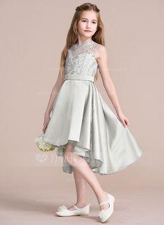 A-Line/Princess Scoop Neck Asymmetrical Zipper Up Regular Straps Sleeveless No Silver General Satin Junior Bridesmaid Dress