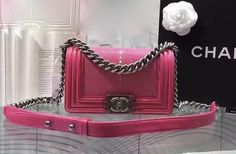 CHANEL Exotic Pearl Fish Pink Small Boy Bag for sale at https://www.ccbellavita.eu/products/chanel-exotic-pearl-fish-pink-small-boy-bag