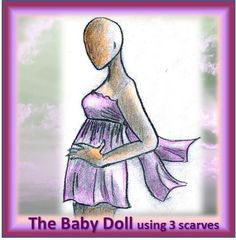 The Baby Doll - a dress or a top, your choice. Flirty, light and fun made from 3 scarves, no cutting, one size fits all, sew in 1 -2 hours. Short Scarves, Long Scarf, Fabric Art, Tree Branches, Baby Dolls, Art Pieces, Sewing, Fun, Dress