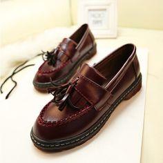 2014 Nova Moda Primavera e No Outono Sapatos das mulheres Do Salto Planas Loafers Gommini sapatos Casuais sapatos de Plataforma borla Do Vintage para Mulher flats