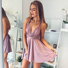Stylish A line V neck short prom dress, homecoming dress sold by Dreamy Dress. Shop more products from Dreamy Dress on Storenvy, the home of independent small businesses all over the world. Homecoming Dresses For Freshman, Backless Homecoming Dresses, Simple Homecoming Dresses, Two Piece Homecoming Dress, Cute Prom Dresses, Junior Prom Dresses Short, Dress Prom, Wedding Dresses, Gown Wedding