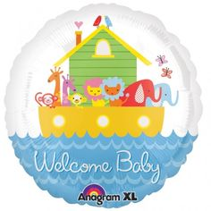 """Cachao Toy Cafe - 18"""" Foil Balloons - Welcome Baby Noah's Ark"""