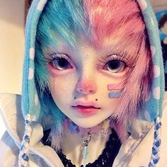 pale blue and pink faceup, BJD Emo Kawaii, Kawaii Doll, Pretty Dolls, Beautiful Dolls, Ooak Dolls, Blythe Dolls, Pastell Goth Outfits, Pics Art, Anime Dolls