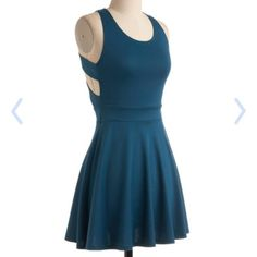 Modcloth Fox-trot Lessons dress EUC You've always wanted to learn the steps - slow, slow, quick, quick - so slide into some danceable heels and this swinging dress and start learning the two-step! You've got all the right moves as your partner takes your hand, your teal A-line skirt twirling. Look smooth in the soft flexible tank with crisscross detail in back as your feet glide across the dance floor. It's clear you're a natural at dancing and fashion! Worn a handful of times, EUC. ModCloth…
