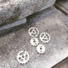 Soldering on earring posts! #solder #earrings #studs #hannahblackwoodjewellery #cog #silver #steampunk