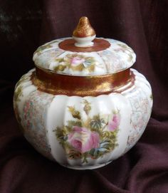 Beautiful Rose Covered Biscuit Jar. Judith Walker's Collection now on sale at eBay