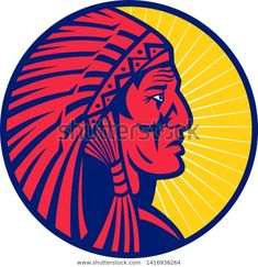 Mascot Icon Illustration Head Old Native Stock Vector (Royalty Free) 1416938264 War Bonnet, Feather Headdress, Retro Illustration, Native American Indians, Retro Fashion, Nativity, Royalty Free Stock Photos, People, Pictures