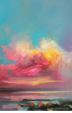 Landscape painting / oil painting / colourful art Such beautiful colours 😍 Cumulus Consonance Study 2 Scottish skyscape oil painting by Scott Naismith Landscape Art, Landscape Paintings, Landscapes, Oil Paintings, Kunst Online, Guache, Art Oil, Love Art, Painting Prints