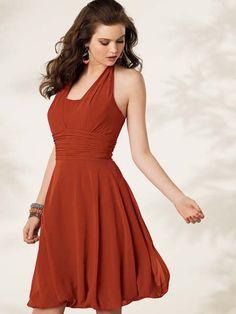 Cinnamon Halter Ruched Short Bridesmaid Dress