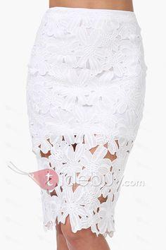 ホワイトフック花かぎ針編みのペンシルスカート