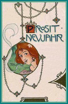 Art Nouveau New Year Postcard by K. Jozsa, 1900